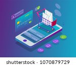 isometric smart phone online... | Shutterstock .eps vector #1070879729