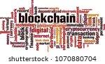 blockchain word cloud concept.... | Shutterstock .eps vector #1070880704