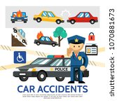 flat road accident template | Shutterstock .eps vector #1070881673