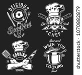 set of cooking emblem on black... | Shutterstock .eps vector #1070882879