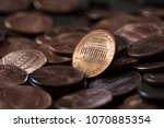 close up of us one cent coins... | Shutterstock . vector #1070885354