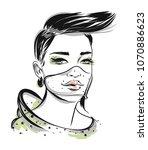 beautiful line art woman... | Shutterstock .eps vector #1070886623