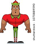 a cartoon xmas elf looking... | Shutterstock .eps vector #1070889590