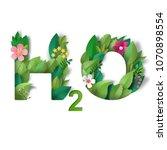illustration. lettering h2o in... | Shutterstock . vector #1070898554