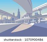 highway overpass and city... | Shutterstock .eps vector #1070900486