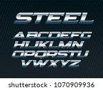 steel sans expanded font  metal ...   Shutterstock .eps vector #1070909936