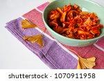 pasta tagliatelle with tomato... | Shutterstock . vector #1070911958
