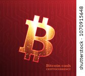 bitcoin sign on dark red... | Shutterstock .eps vector #1070915648