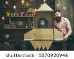rocket launch concept. kid...   Shutterstock . vector #1070920946