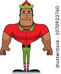 a cartoon xmas elf looking... | Shutterstock .eps vector #1070923760
