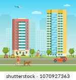 new appartment building and... | Shutterstock .eps vector #1070927363