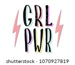 girl power quote. grl pwr hand... | Shutterstock .eps vector #1070927819