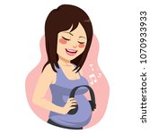 beautiful young expecting mom... | Shutterstock .eps vector #1070933933