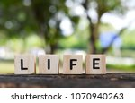 life word on wood blocks with... | Shutterstock . vector #1070940263