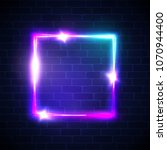 neon background. square frame... | Shutterstock .eps vector #1070944400