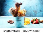 set of ice cream scoops of... | Shutterstock . vector #1070945300