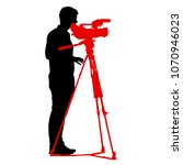 cameraman with video camera.... | Shutterstock .eps vector #1070946023