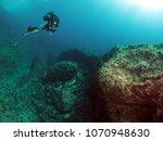 scuba diving malta   wied iz... | Shutterstock . vector #1070948630
