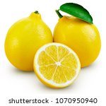 lemon fruit with leaf isolated... | Shutterstock . vector #1070950940