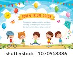vector illustration of kids... | Shutterstock .eps vector #1070958386