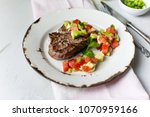 beef fillet with tomato and... | Shutterstock . vector #1070959166