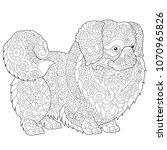 coloring pages. pekingese or... | Shutterstock .eps vector #1070965826