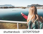 woman tourist hand showing at... | Shutterstock . vector #1070970569