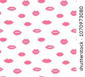 hand drawn pink lips doodles... | Shutterstock .eps vector #1070973080