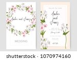save the date card  wedding... | Shutterstock .eps vector #1070974160