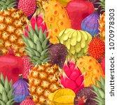 seamless exotic friut | Shutterstock .eps vector #1070978303