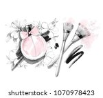 hand drawn perfume bottle with... | Shutterstock . vector #1070978423