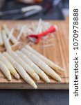 white asparagus preparation and ...   Shutterstock . vector #1070978888