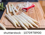 white asparagus preparation and ...   Shutterstock . vector #1070978900