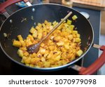cooking pineapple curry in the...   Shutterstock . vector #1070979098