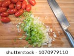 fresh tomatoes and green onion...   Shutterstock . vector #1070979110