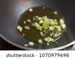 green onion in the pan   Shutterstock . vector #1070979698