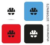 bike helmet and glasses flat... | Shutterstock .eps vector #1070989673