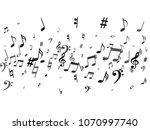 black flying musical notes... | Shutterstock .eps vector #1070997740