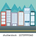landscape with city buildings | Shutterstock .eps vector #1070999360