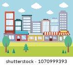city urban landscape | Shutterstock .eps vector #1070999393