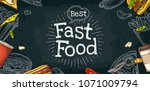 horizontal poster fast food... | Shutterstock .eps vector #1071009794