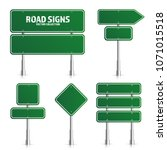 road green traffic sign. blank... | Shutterstock .eps vector #1071015518