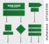 road green traffic sign. blank... | Shutterstock .eps vector #1071015530