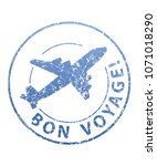 bon voyage blue grunge rubber...   Shutterstock .eps vector #1071018290