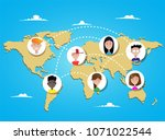 people connecting all over the... | Shutterstock . vector #1071022544