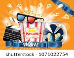 movie theater ad poster  design ... | Shutterstock .eps vector #1071022754