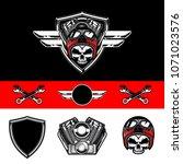 Set Of Skull Biker Wear Hekmet. ...