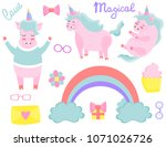 a set of unicorns. magical.... | Shutterstock .eps vector #1071026726