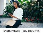 pensive african american young... | Shutterstock . vector #1071029246
