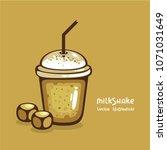 caramel milkshake in plastic...   Shutterstock .eps vector #1071031649
